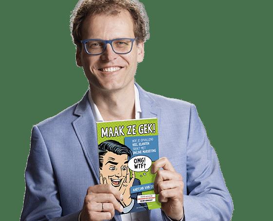 Aartjan met boek Maak ze gek2